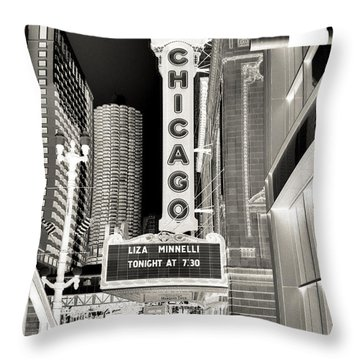 Chicago Theater - 2 Throw Pillow by Ely Arsha