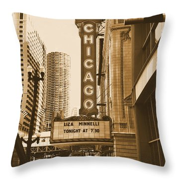 Chicago Theater - 3 Throw Pillow by Ely Arsha