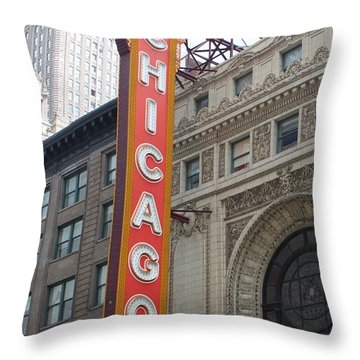 Chicago Theater Sign Throw Pillow by Lauri Novak