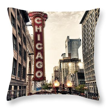 Chicago Theater Throw Pillow by Tammy Wetzel