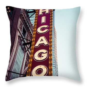 Chicago Theatre Marquee Sign Vintage Throw Pillow by Paul Velgos