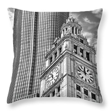 Throw Pillow featuring the photograph Chicago Trump And Wrigley Towers Black And White by Christopher Arndt