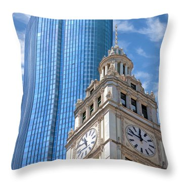 Throw Pillow featuring the painting Chicago Trump And Wrigley Towers by Christopher Arndt