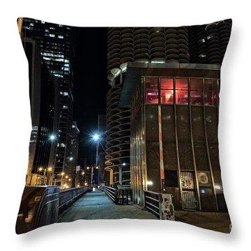 Chicago Urban Vintage River Drawbridge With Tender House At Night Throw Pillow