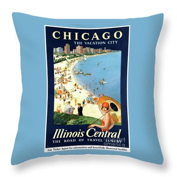 Chicago Vacation City Vintage Poster Restored Throw Pillow by Carsten Reisinger