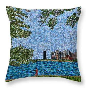 Chicago - View From Lakefront Trail Throw Pillow by Micah Mullen