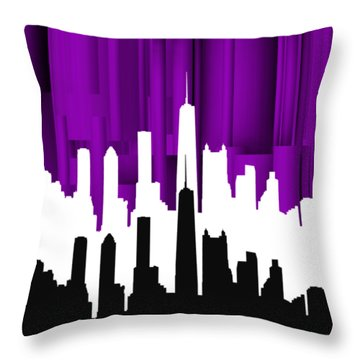 Chicago Violet In Negative Throw Pillow