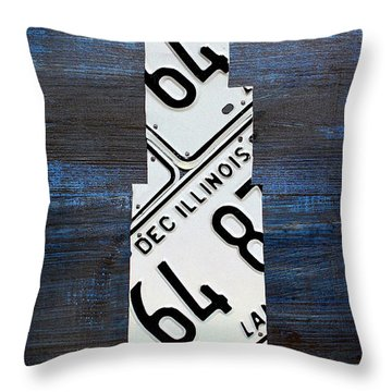 Chicago Windy City Harris Sears Tower License Plate Art Throw Pillow by Design Turnpike