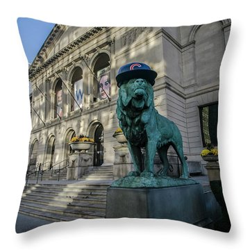 Chicago's Art Institute With Cubs Hat Throw Pillow