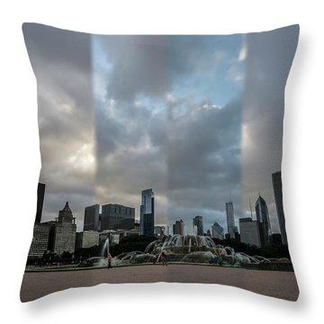 Chicago's Buckingham Fountain Time Slice Photo Throw Pillow