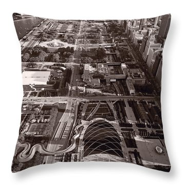 Chicagos Front Yard B W Throw Pillow by Steve Gadomski