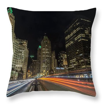 Chicago's Mag Mile Night Streaks Throw Pillow