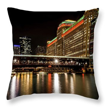 Chicago's Merchandise Mart At Night Throw Pillow