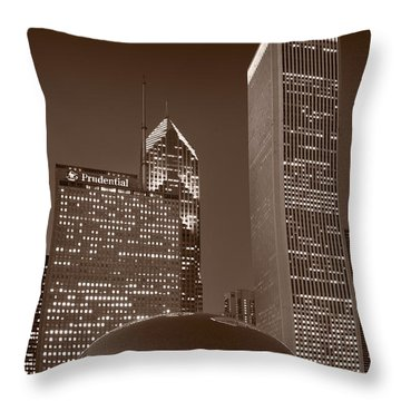Chicagos Millennium Park Bw Throw Pillow by Steve Gadomski