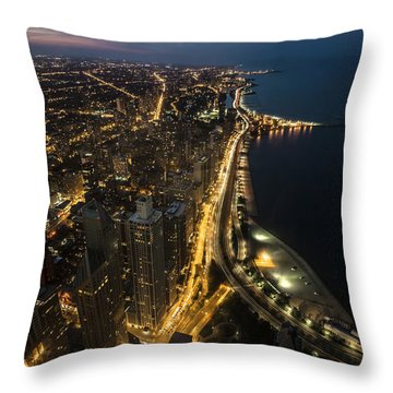 Chicago's North Side From Above At Night  Throw Pillow