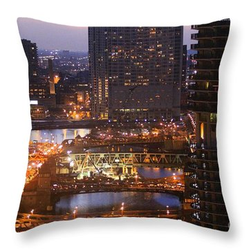 Chicago's River At Night Throw Pillow