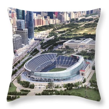 Throw Pillow featuring the photograph Chicago's Soldier Field by Adam Romanowicz