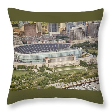 Throw Pillow featuring the photograph Chicago's Soldier Field Aerial by Adam Romanowicz