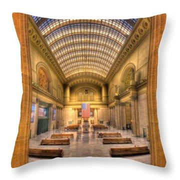 Chicagos Union Station Throw Pillow by Steve Gadomski