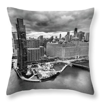 Chicago's Wolf Point From The 27th Floor Throw Pillow