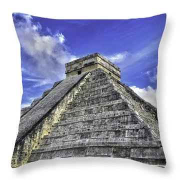 Throw Pillow featuring the photograph Chichen Itza, El Castillo Pyramid by Jason Moynihan