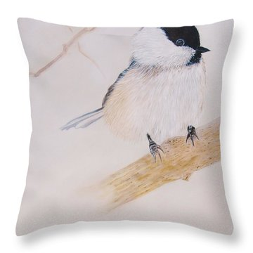 Chick-a-dee Throw Pillow by Jean Yves Crispo