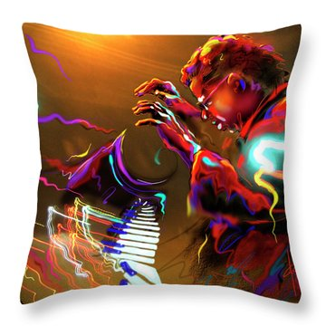 Throw Pillow featuring the painting Chick Corea by DC Langer