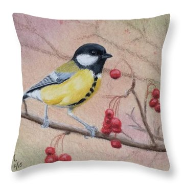 Throw Pillow featuring the painting Great Tit by Joseph Ogle