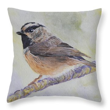 Throw Pillow featuring the painting Chickadee 2 by Robert Decker