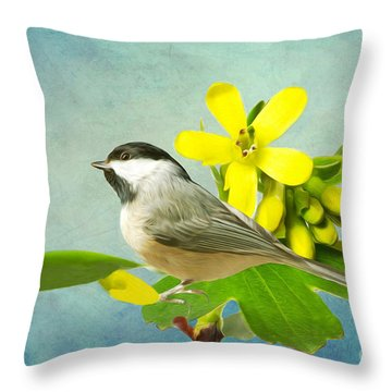 Chickadee And Flowers Throw Pillow