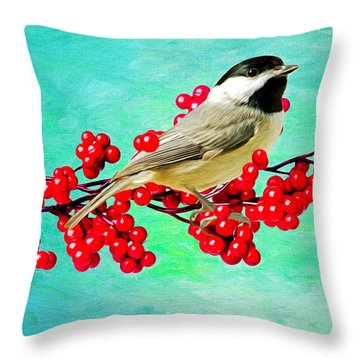 Chickadee And Winterberry Throw Pillow