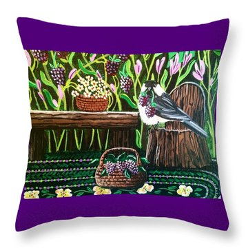 Chickadee Berries Throw Pillow by Jennifer Lake