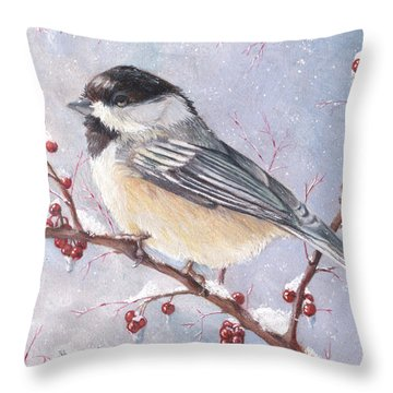 Chickadee Dee Dee Throw Pillow by Shana Rowe Jackson