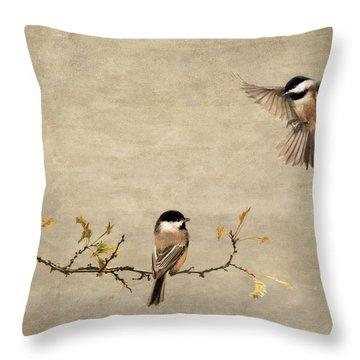 Chickadee Encounter II Throw Pillow