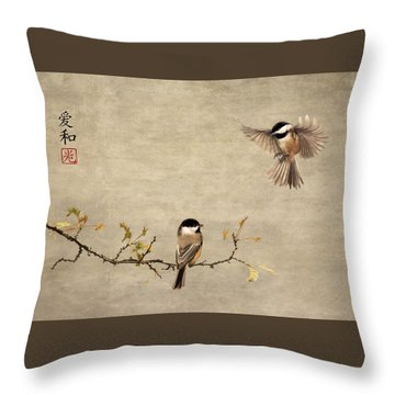 Chickadee Encounter II Throw Pillow