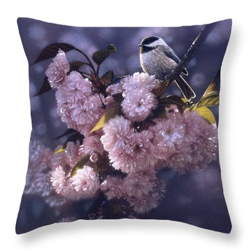 Chickadee - In Spring Pink Throw Pillow