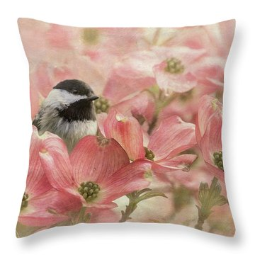 Throw Pillow featuring the photograph Chickadee In The Dogwood by Angie Vogel