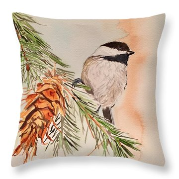 Chickadee In The Pine Throw Pillow