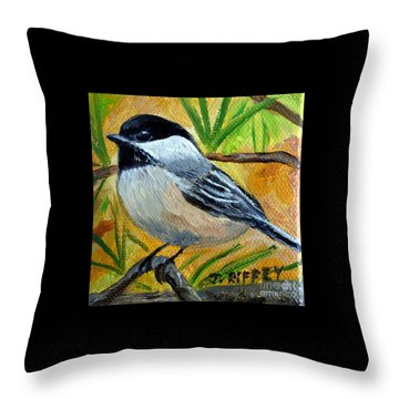 Chickadee In The Pines - Birds Throw Pillow