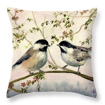 Chickadee Love Throw Pillow
