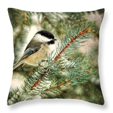 Chickadee On A Snowy Tree Throw Pillow