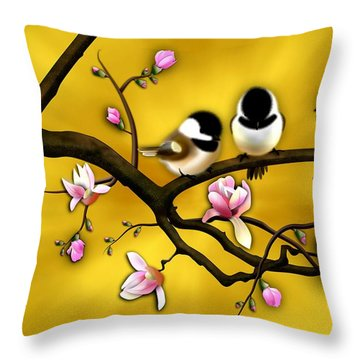 Chickadee On Blooming Magnolia Branch Throw Pillow