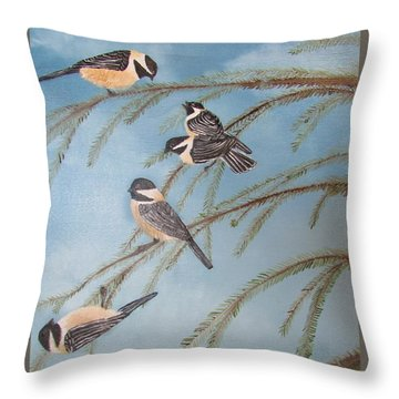 Chickadee Party Throw Pillow