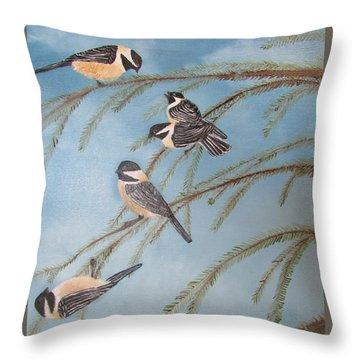 Chickadee Party Throw Pillow by Thomas Janos