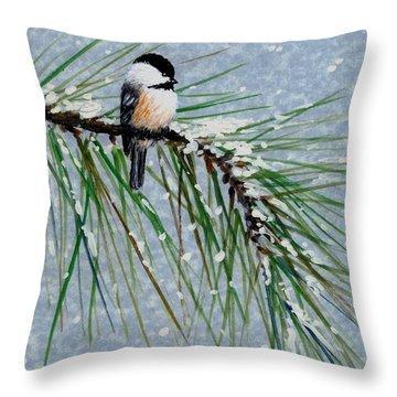 Chickadee Set 8 - Bird 1 - Snow Chickadees Throw Pillow