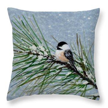 Chickadee Set 8 - Bird 2 - Snow Chickadees Throw Pillow