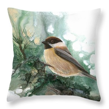 Throw Pillow featuring the painting Chickadee by Sherry Shipley