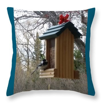 Chickadee Throw Pillow by Wendy Shoults