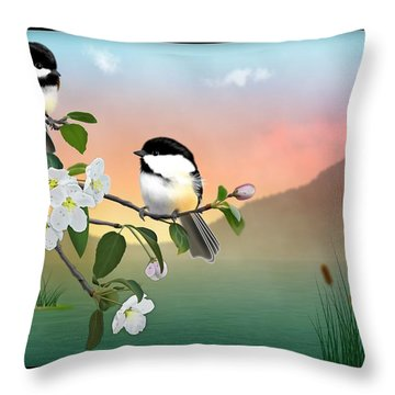 Chickadees And Apple Blossoms Throw Pillow
