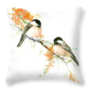 Chickadees And Orange Flowers Throw Pillow